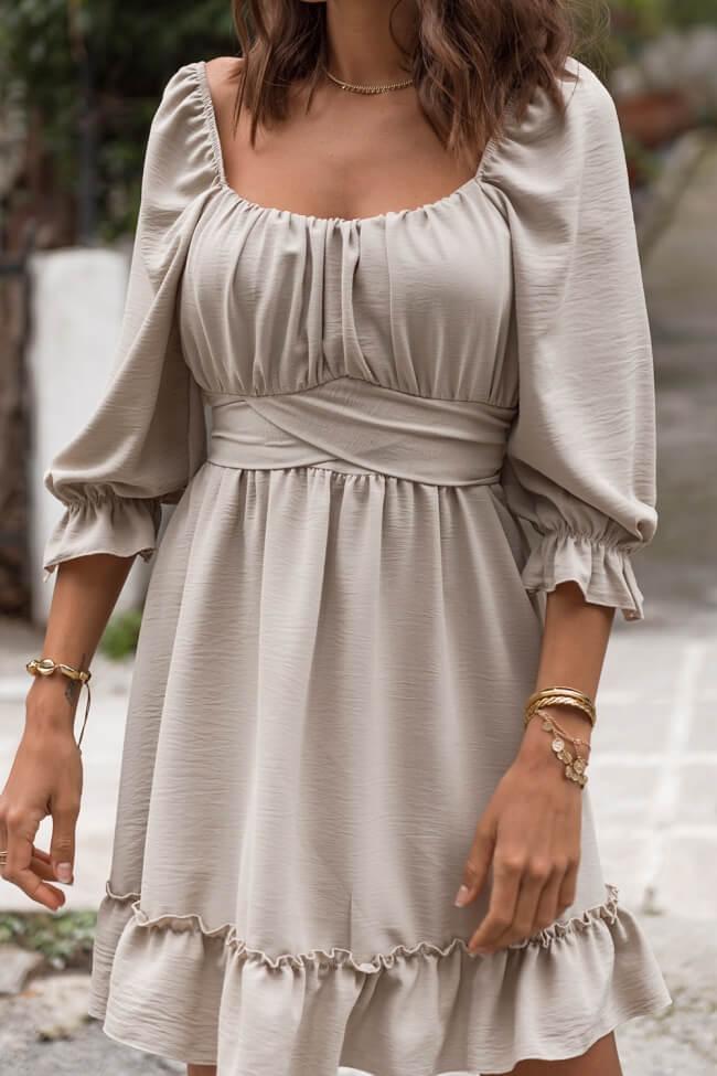 Φόρεμα Μίνι με Ζωνάκι και Βολάν στον Κορμό και τα Μανίκια