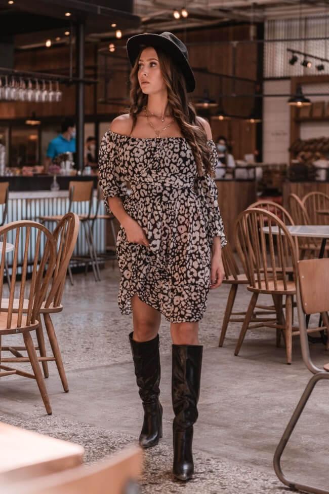 Φόρεμα Off Shoulder Animal Print