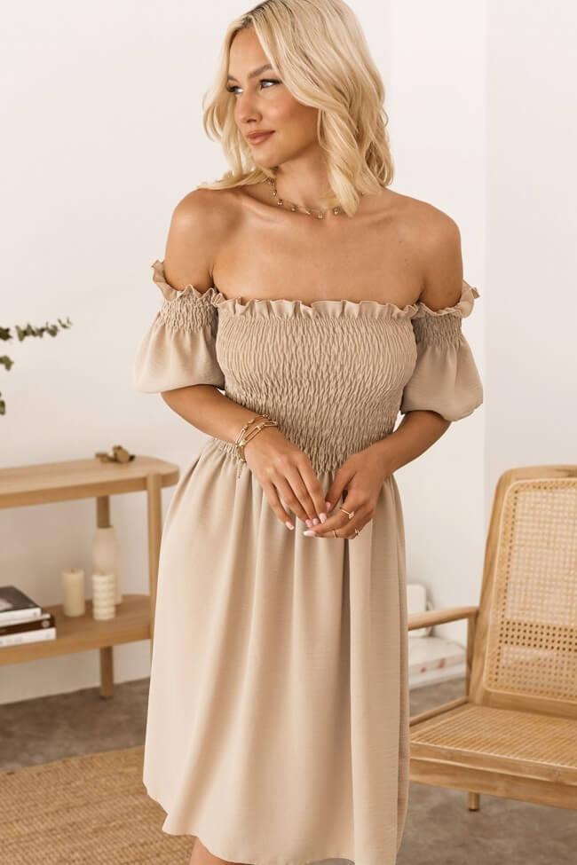 Φόρεμα Off Shoulder με Σφηκοφωλιά
