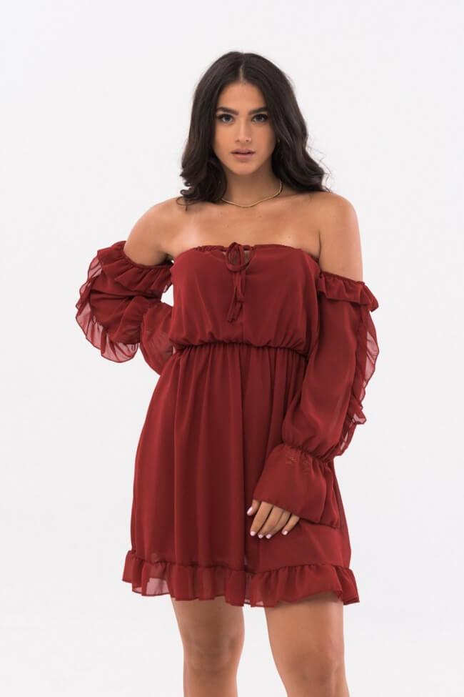 Φόρεμα Off Shoulder με Βολάν
