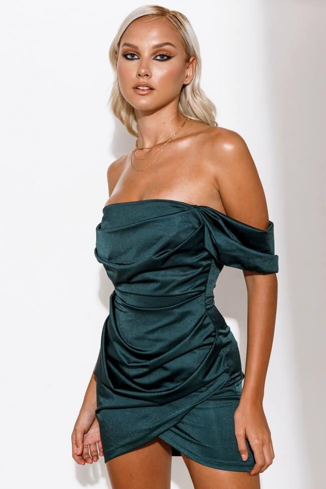 Φόρεμα Off Shoulder Σατέν