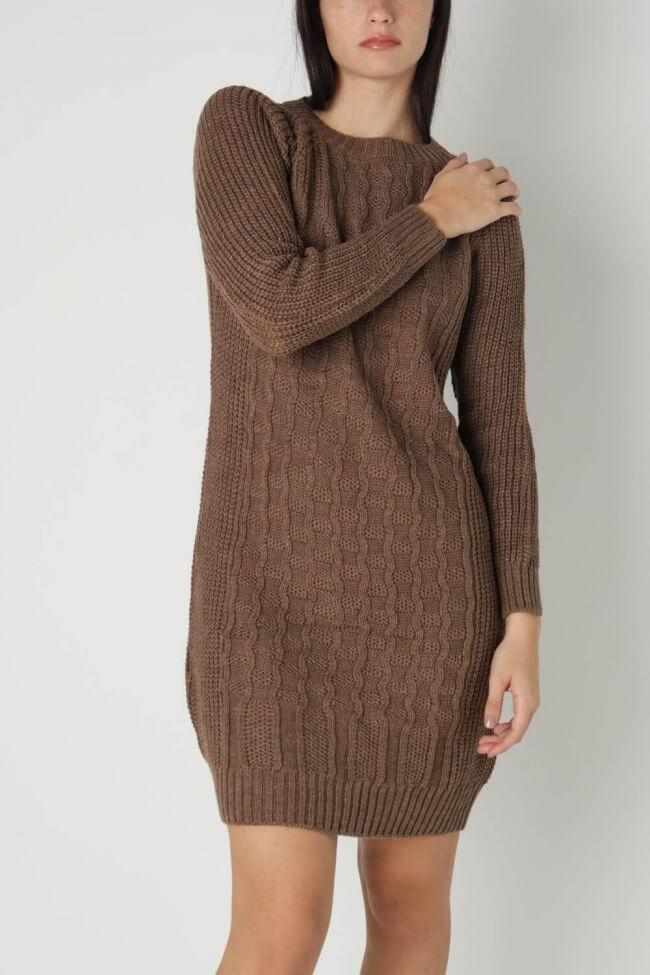 Φόρεμα Πλεκτό με Κάθετο Σχέδιο
