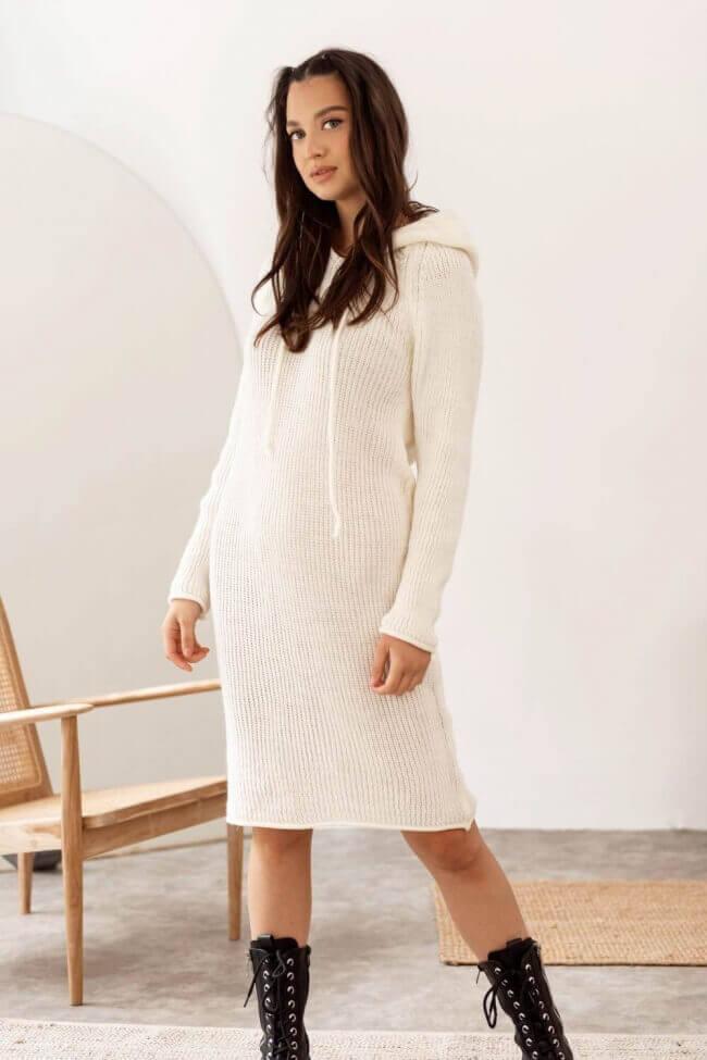 Φόρεμα Πλεκτό με Κουκούλα