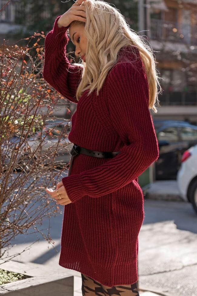 Φόρεμα Πλεκτό με Ψιλό Γιακά