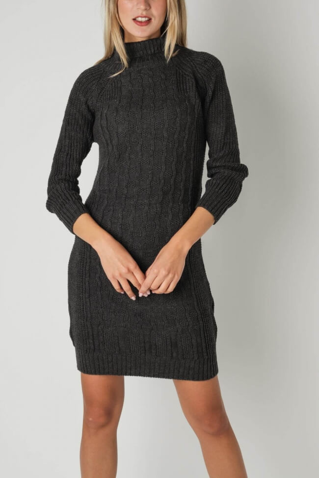 Φόρεμα Πλεκτό με Ψηλό Λαιμό