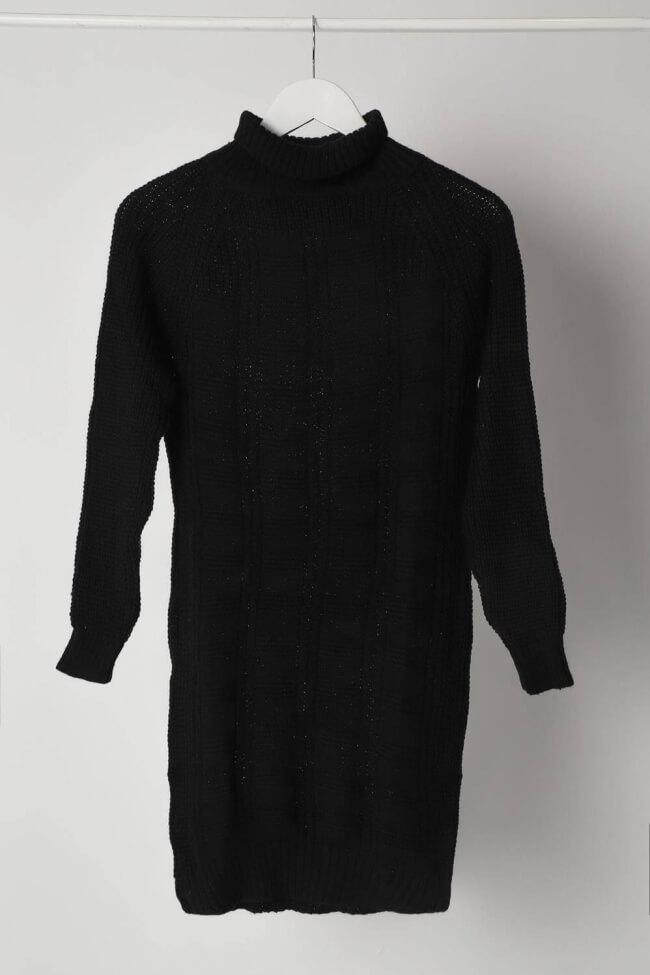 Φόρεμα Πλεκτό με Ψηλό Λαιμό και Τετράγωνα
