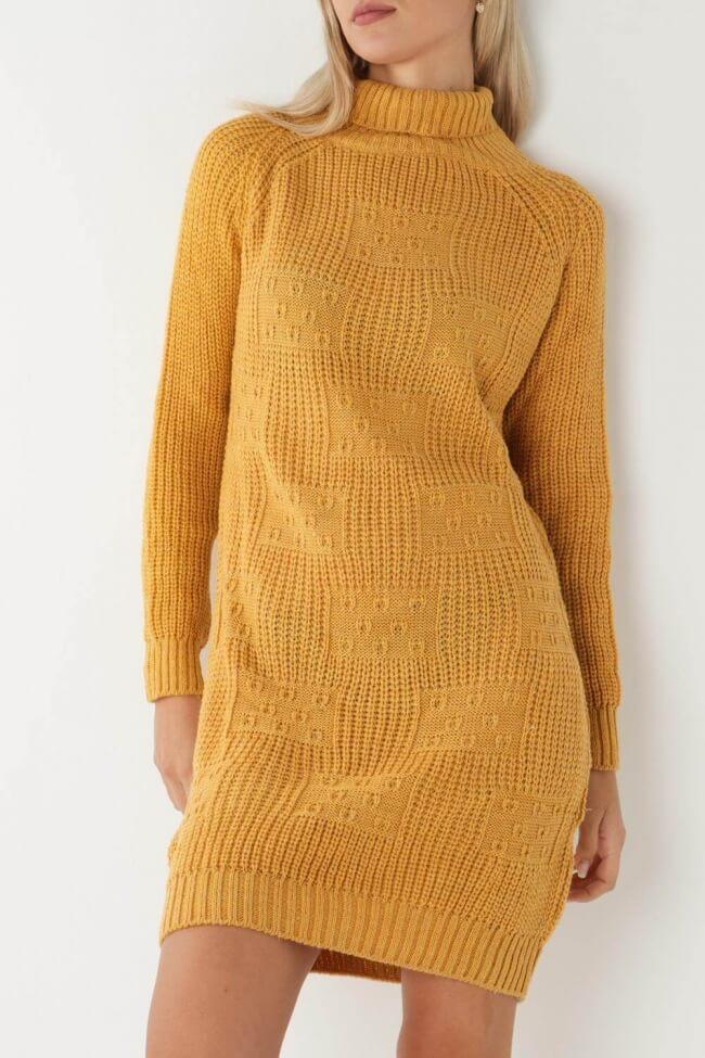 Φόρεμα Πλεκτό με Τετράγωνα
