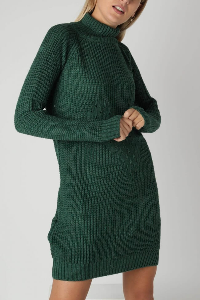 Φόρεμα Πλεκτό Ζιβάγκο με Σχέδιο Καρδιά
