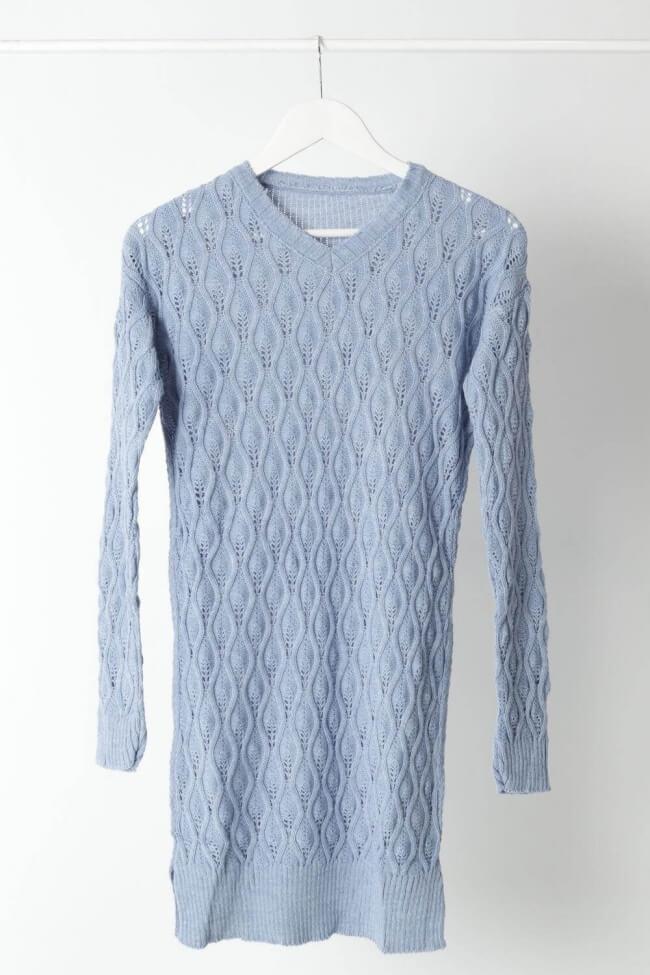 Φόρεμα Pointelle Knit με Άνοιγμα V