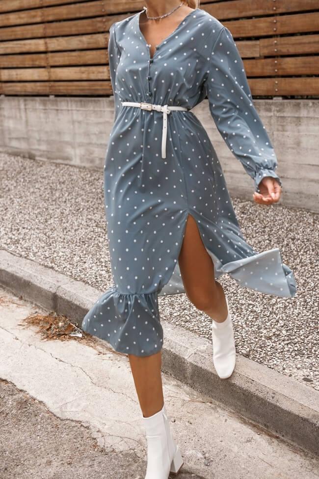 Φόρεμα Πουά με Βολάν
