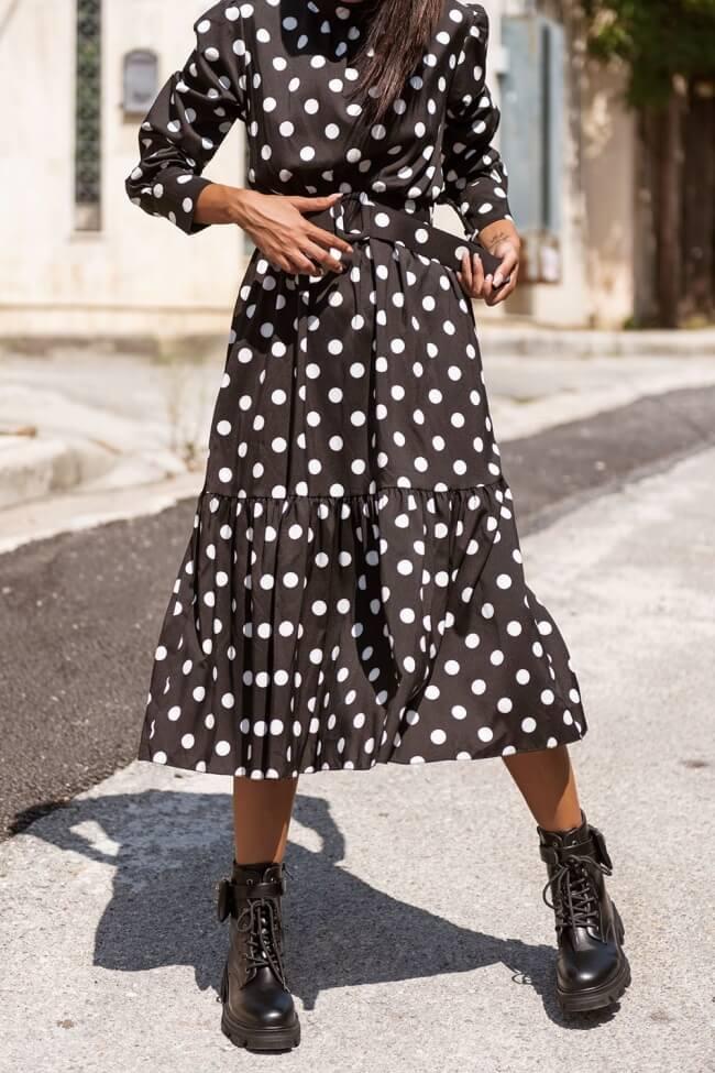 Φόρεμα Πουά με Βολάν & Ζώνη
