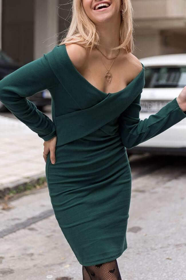 Φόρεμα Ribbed με Χιαστί Μπροστά