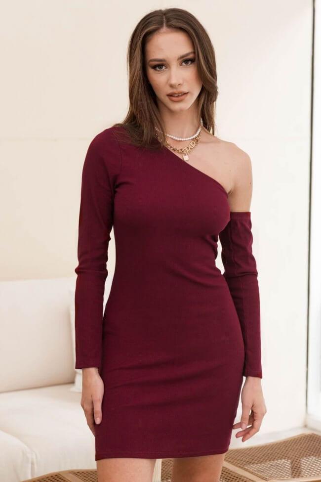 Φόρεμα Ριπ με Έναν Ώμο και Ξεχωριστό Μανίκι