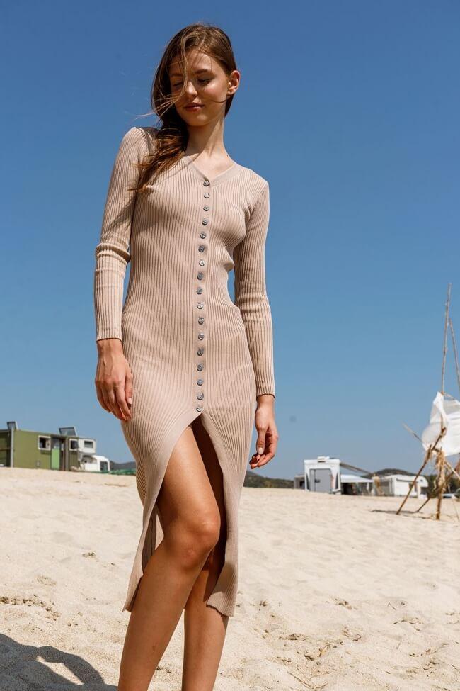Φόρεμα Ριπ με Κουμπάκια