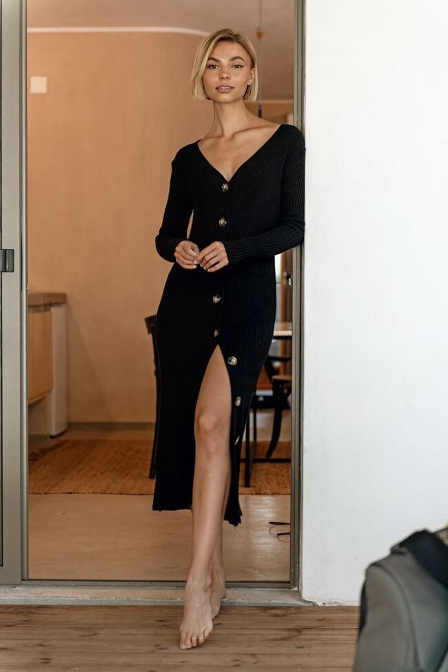 Φόρεμα Ριπ με Κουμπιά