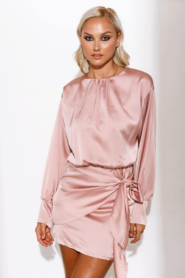 Φόρεμα Σατέν Κρουαζέ με Δέσιμο