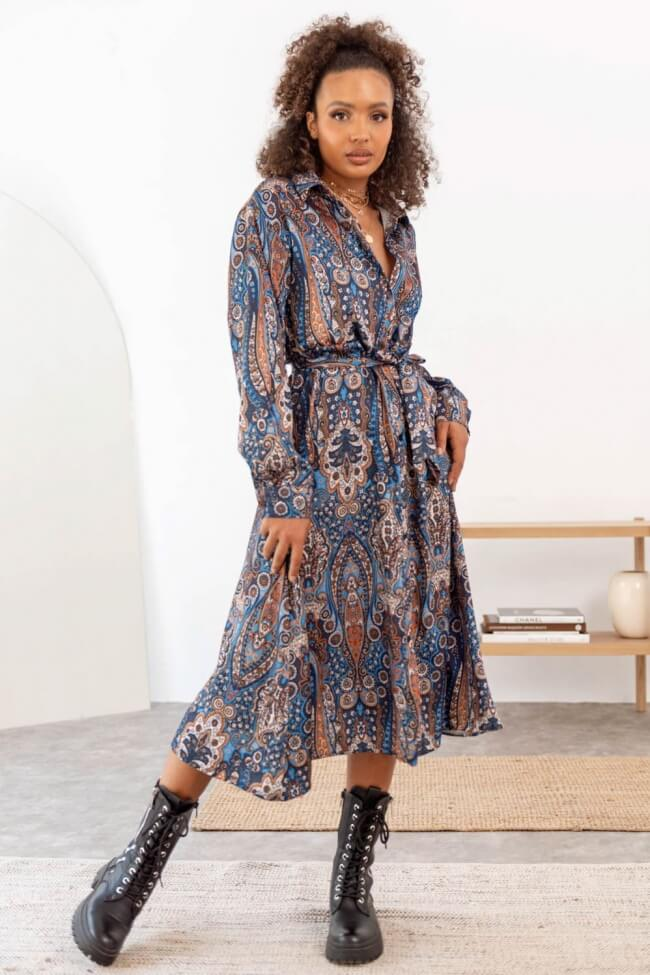 Φόρεμα Σατέν Λαχούρ με Ζωνάκι