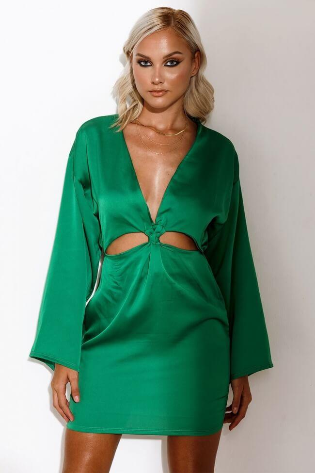 Φόρεμα Σατέν με Ανοίγματα Μπροστά