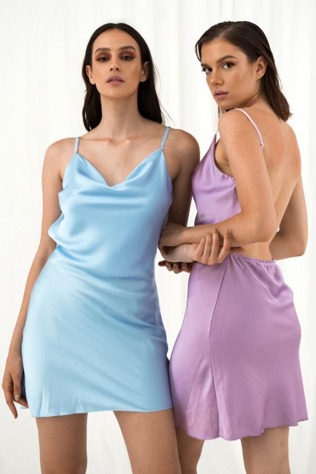 Φόρεμα Σατέν με Ανοιχτή Πλάτη