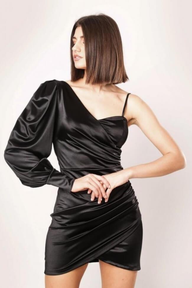 Φόρεμα Σατέν με Έναν Ώμο & Σούρα