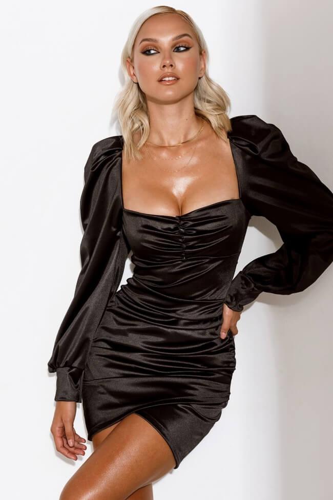 Φόρεμα Σατέν με Ενίσχυση στο Μπούστο και Πιέτες