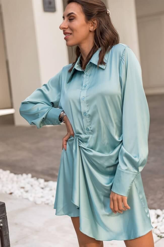 Φόρεμα Σατέν με Κουμπιά και Σούρα