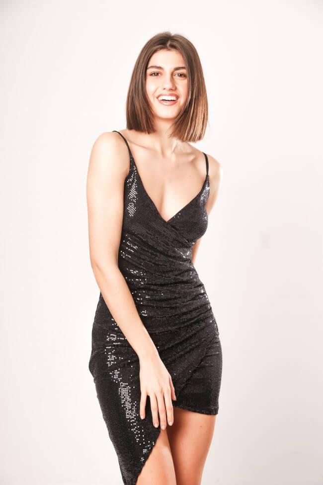 Φόρεμα Shiny Look Κρουαζέ με Σούρα