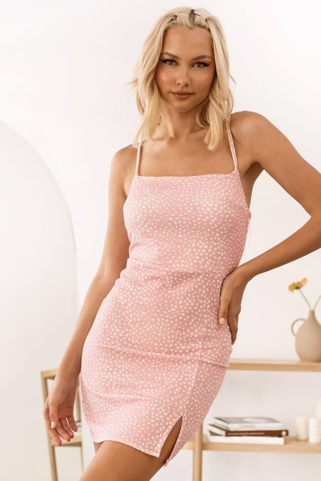 Φόρεμα Spotty Ελαστικό με Ενίσχυση στο Μπούστο