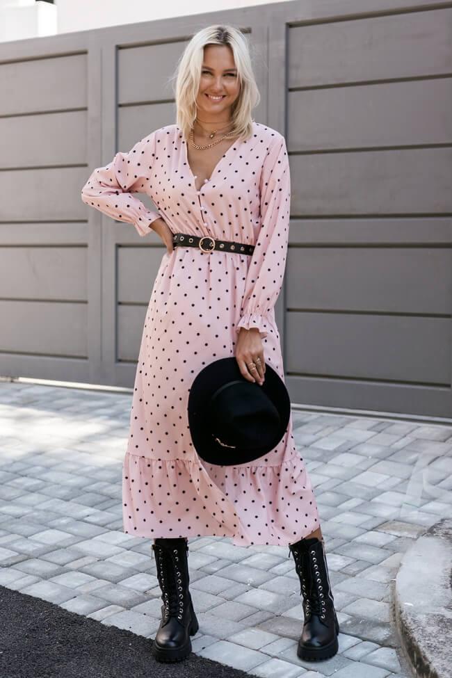Φόρεμα Spotty με Βολάν Τελείωμα
