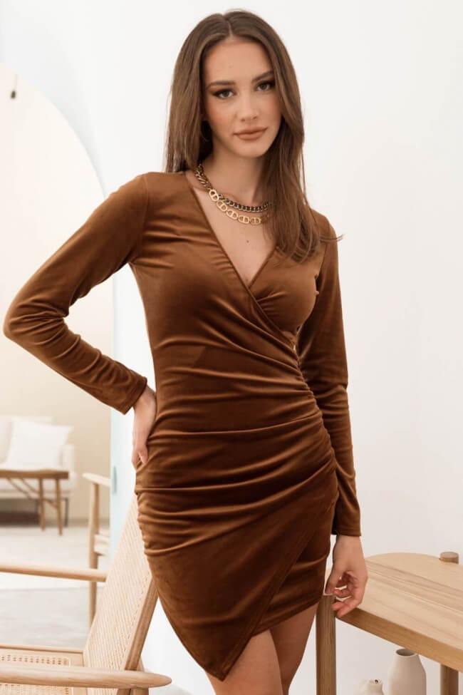 Φόρεμα Velvet Κρουαζέ με Σούρα