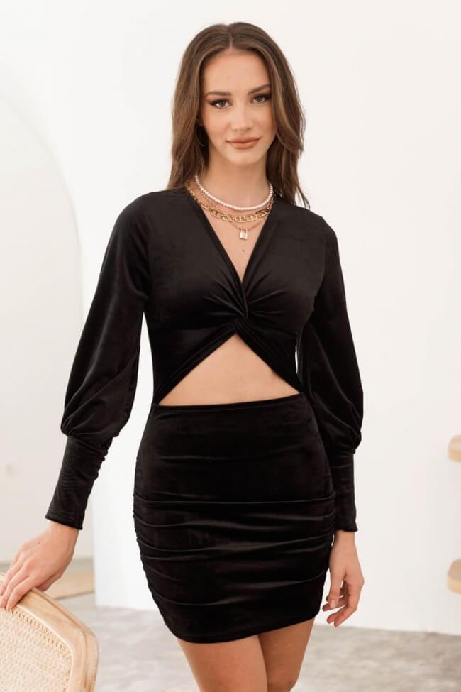 Φόρεμα Velvet με Άνοιγμα Μπροστά