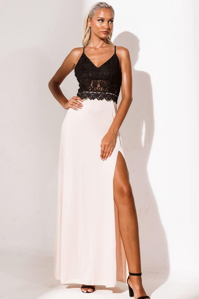 Φόρεμα Βραδινό Δίχρωμο με Βαθύ Σκίσιμο