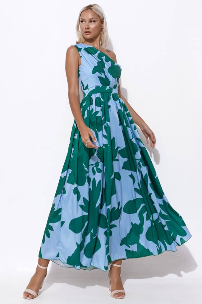 Φόρεμα Βραδινό Floral με Έναν Ώμο