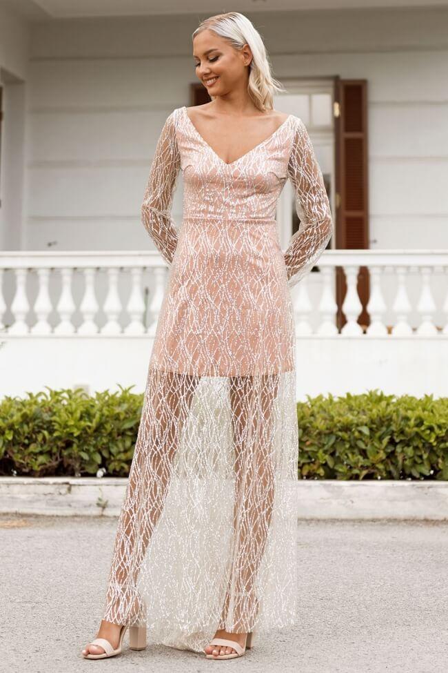 Φόρεμα Βραδινό Κοντό με Μακριά Ουρά