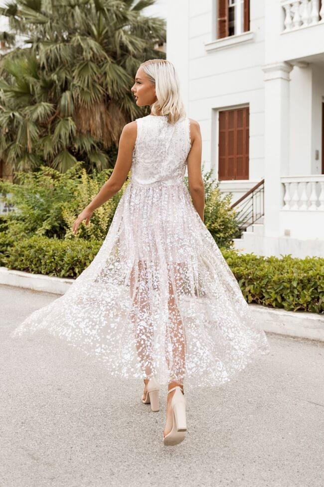 Φόρεμα Βραδινό Κοντό με Μακρυά Ουρά