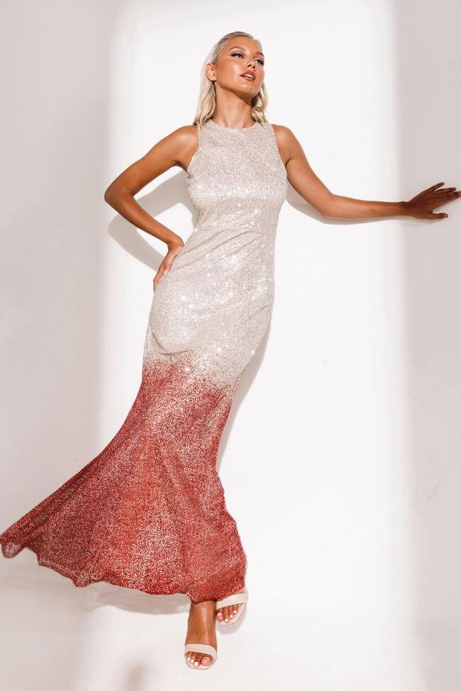 Φόρεμα Βραδινό με Δίχρωμα Strass