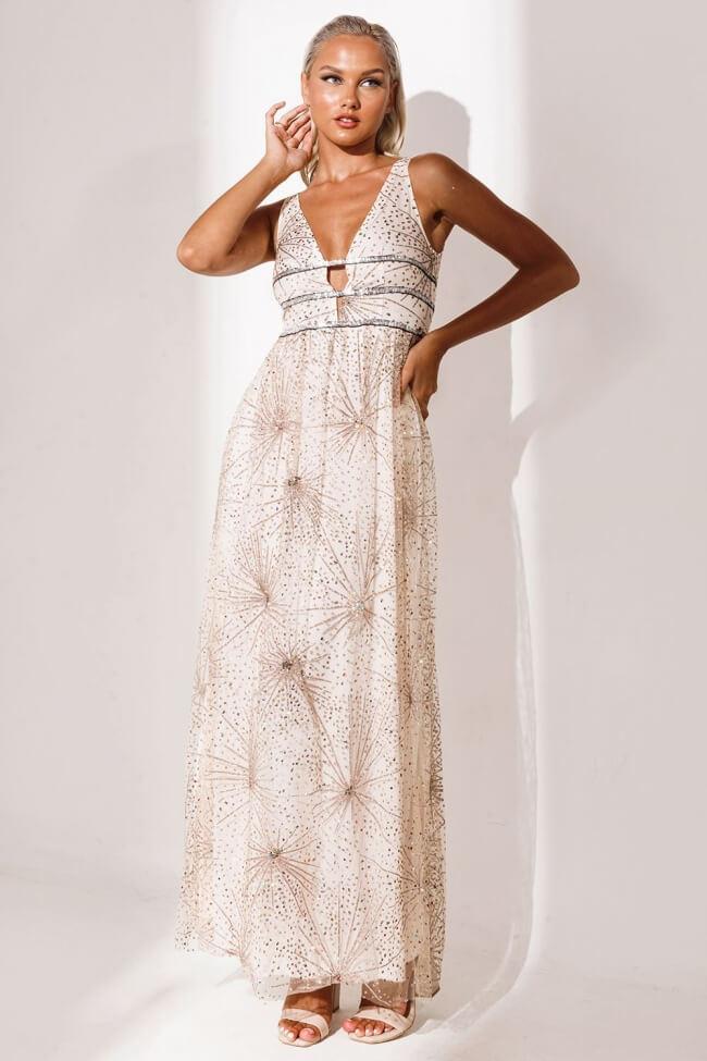 Φόρεμα Βραδινό με Ιριδίζον Strass