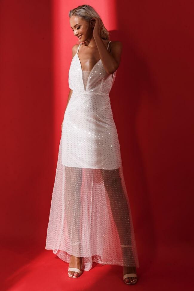 Φόρεμα Βραδινό με Πούλιες και Βαθύ Ντεκολτέ