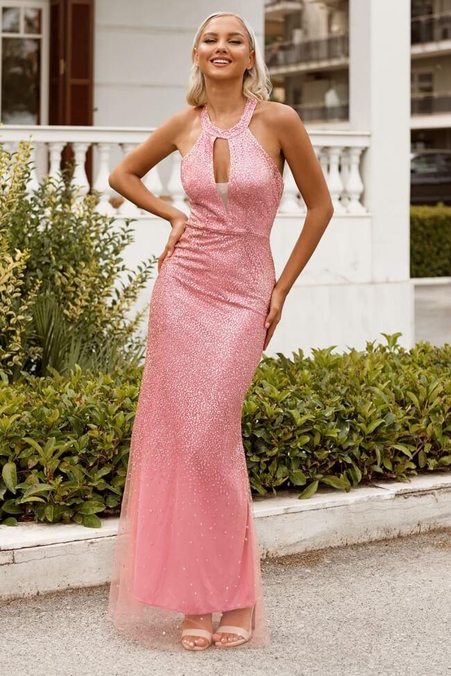 Φόρεμα Βραδινό με Strass και Άνοιγμα στο Μπούστο