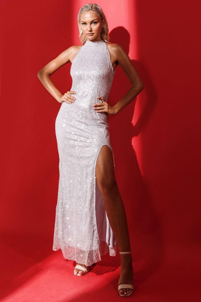 Φόρεμα Βραδινό με Strass και Σκίσιμο στο Πλάι