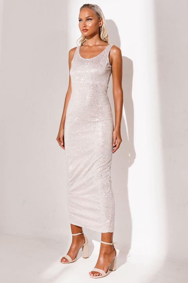 Φόρεμα Βραδινό Midi με Strass και Σκίσιμο Πίσω