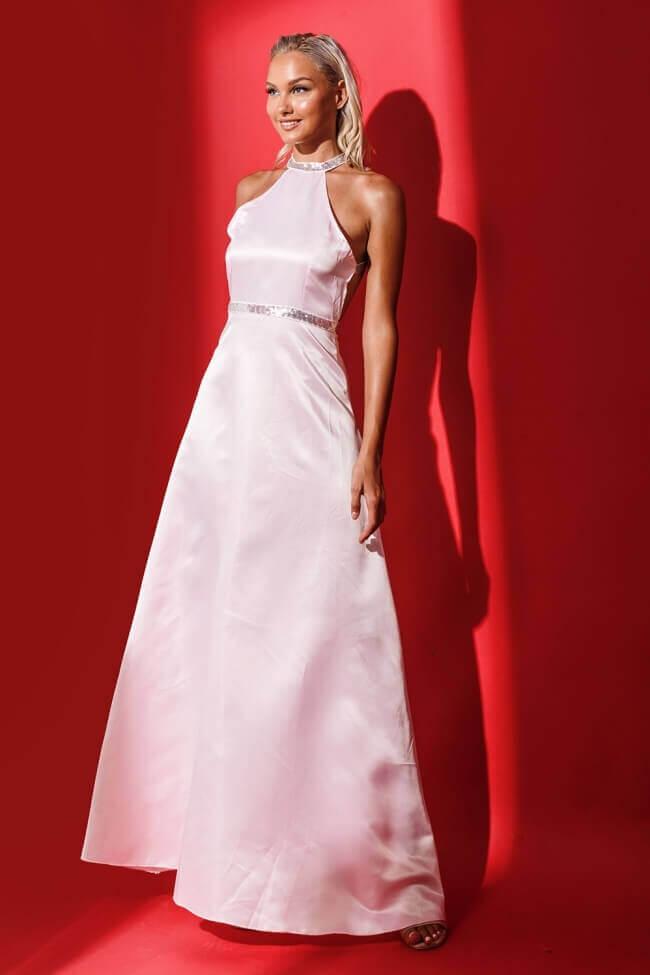 Φόρεμα Βραδινό Σατέν με Ασημί Λεπτομέρειες