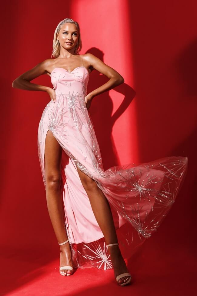 Φόρεμα Βραδινό Strapless με Strass