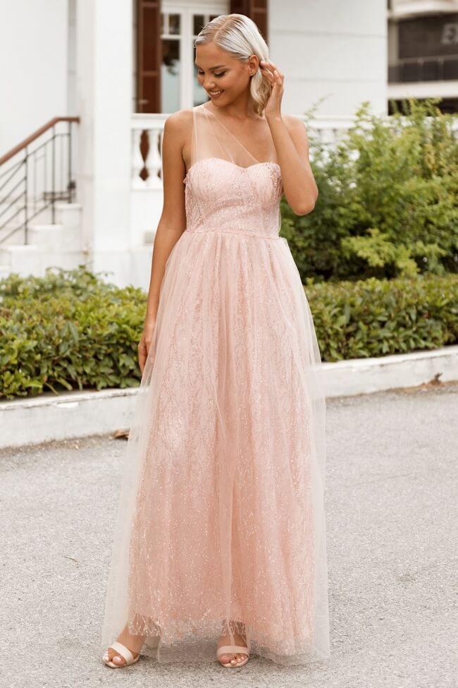 Φόρεμα Βραδινό Strapless με Τούλι