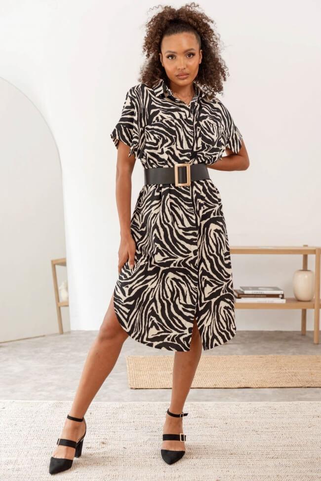 Φόρεμα Zebra Print με Τσεπάκια