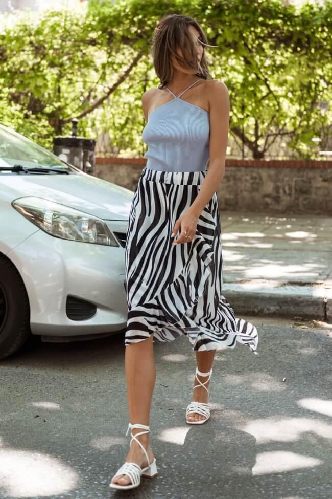 Φούστα Κρουαζέ Zebra Print