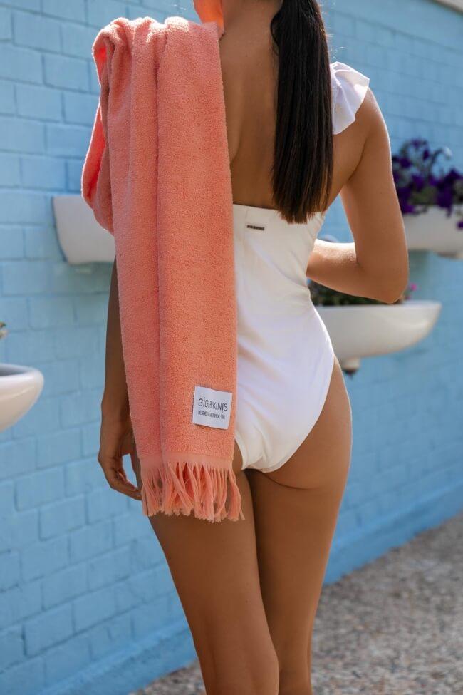 GIGI-Πετσέτα Θαλάσσης Μονόχρωμη με Κρόσσια