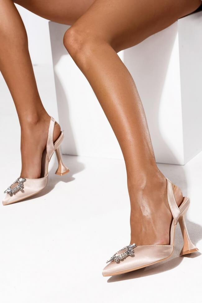 Γόβες Open Heel  με Ιδιαίτερο Τακούνι