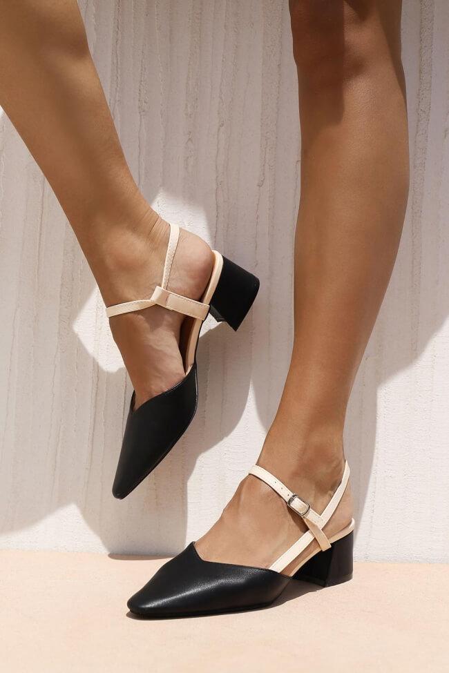 Γόβες Open Heel με Λουράκια - Μαύρο
