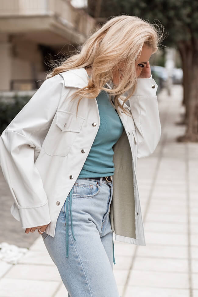 Jacket Δερματίνη Oversized με Τσέπες